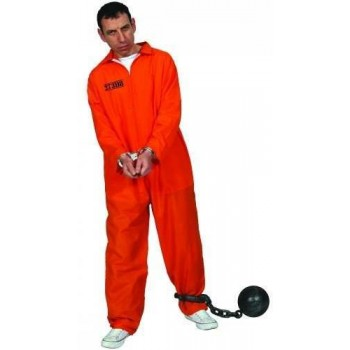 Mens Orange Convict Suit Costume Fancy Dress (Cops/Robbers)