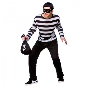 Mens Burglar Cops/Robbers Outfit (Black, White)