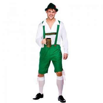Mens Oktoberfest Guy With Deluxe Hat Bavarian (Green, White)