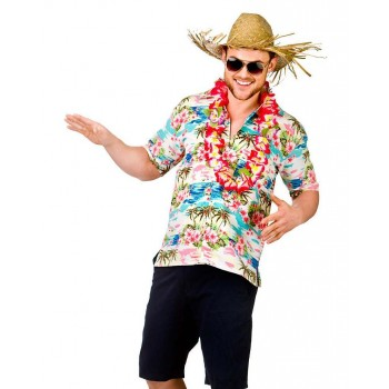Mens Pink Flower & Palm Tree Hawaiian Holiday Shirt Fancy Dress Costume