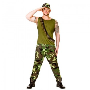 Mens Green Vietnam Combat Army Guy Fancy Dress Costume