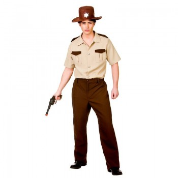 Mens Brown U.S Sheriff Western Cowboy Fancy Dress Costume