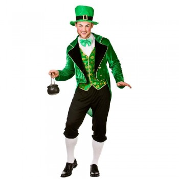 Mens Deluxe Lucky Leprechaun St Patricks Fancy Dress Costume