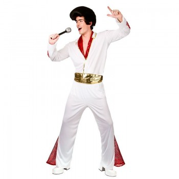 Mens White Vegas King Of Rock N' Roll Fancy Dress Costume