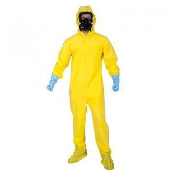 Mens Yellow Biohazzard Hazmat Suit Fancy Dress Costume