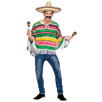 Adults Multi Colour Mexican Bandit Poncho Fancy Dress Costume