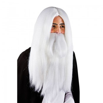 Mens White Wizard Wig & Beard Wigs