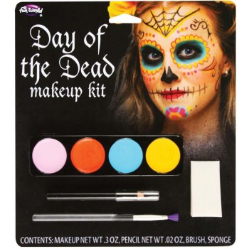 Day Of The Dead Makeup Kit (Female) Halloween Fancy Dress Accessory
