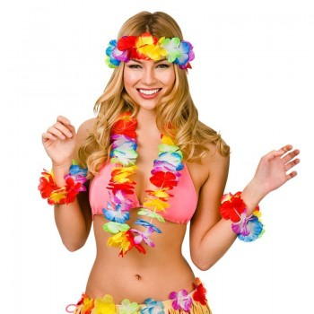 Colorful Aloha Girl Hibiscus Hawaiian Lei Set Fancy Dress Accessory