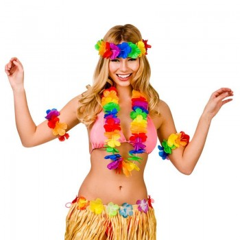 Colorful Mulitcolour Aloha Girl Hibiscus Hawaiian Lei Set Fancy Dress Accessory
