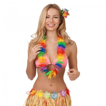 Colorful Mulitcolour Aloha Girl Hibiscus Hawaiian Lei Fancy Dress Accessory