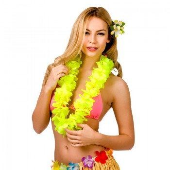 Yellow 9.5Cm Petal Hawaiian Hibiscus Lei Garland Fancy Dress Accessory
