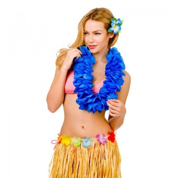 Royal Blue 11.5Cm Large Petal Hawaiian Hibiscus Lei Garland Fancy Dress Accessory