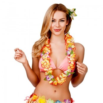 Orange Orchid 8.5Cm Flower Hawaiian Lei Fancy Dress Accessory