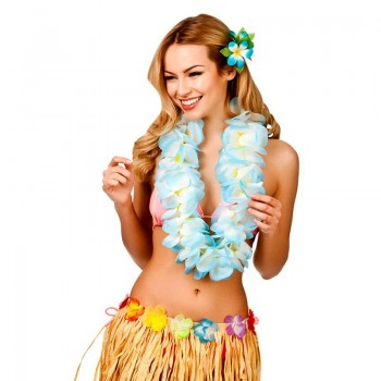 Large Sky Blue Two Tone Hawaiian Lei 11.5Cm Fancy Dress Accessory
