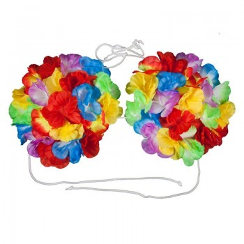 Ladies Mutlicolour Large Hawaiian Shell Flower Bra (15Cm) Fancy Dress Accessory