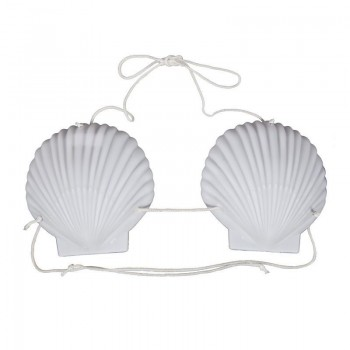 Ladies Large White Hawaiian Shell Bra (15Cm) Fancy Dress Accessory