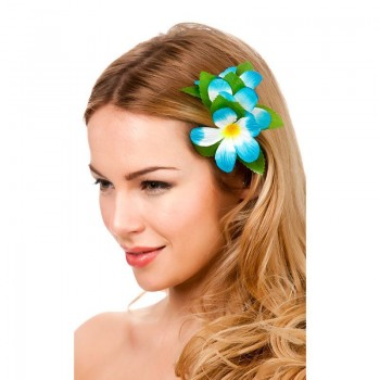 Sky Blue Hawaiian Flower Hair Clip Fancy Dress Accessory