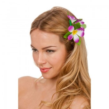 Purple Hawaiian Flower Hair Clip Fancy Dress Accessory