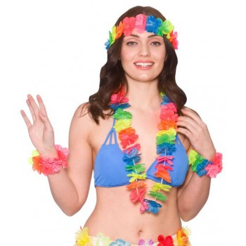 Ladies Multicolour Neon Hawaiian 4Pc Set Fancy Dress Costume