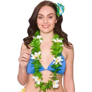 Ladies Green Leaf/White Flower Hawaiian Lei Fancy Dress Accessory