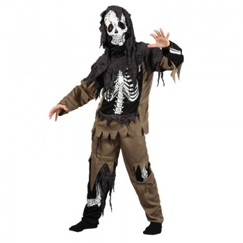 Boys Rotten Skeleton Zombie Halloween Outfit - (Black, Brown)