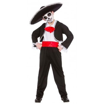 Boys Mexican Day Of The Dead Halloween Fancy Dress Costume
