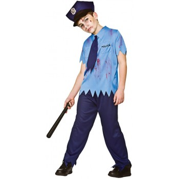 Boys Zombie Cop Halloween Fancy Dress Costume