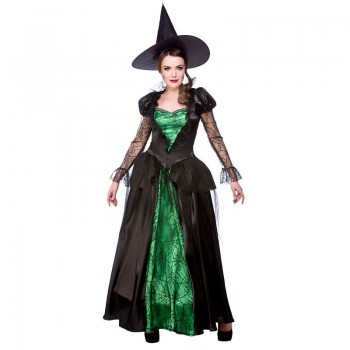 Ladies Emerald Witch Queen Halloween Outfit - (Black, Green)
