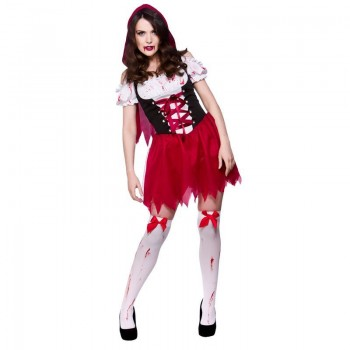 Ladies Little Dead Riding Hood Halloween Outfit - (Red)