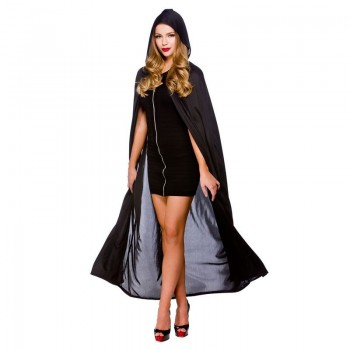 "Ladies Cape With Hood - Black 52"" (132Cm) Halloween Outfit - (Black)"