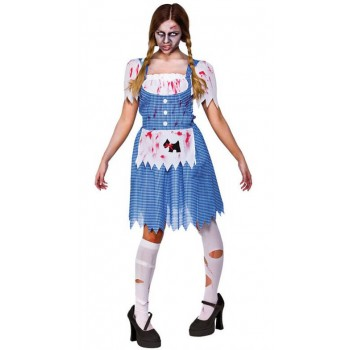 Ladies Zombie Country Girl Halloween Fancy Dress Costume