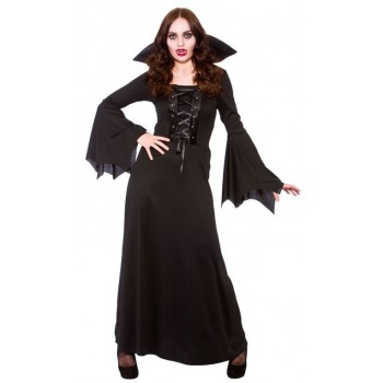 Ladies Dark Vampiress Halloween Fancy Dress Costume