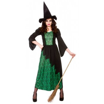 Ladies Green Sorcerous Witch Halloween Fancy Dress Costume