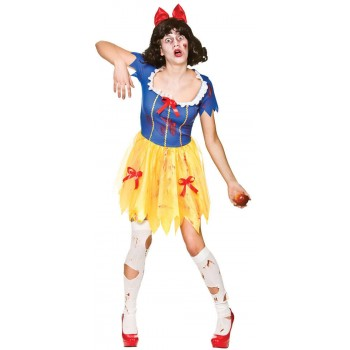 Ladies Zombie Snow White Halloween Fancy Dress Costume