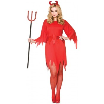 Ladies Red Wicked Devil Halloween Fancy Dress Costume