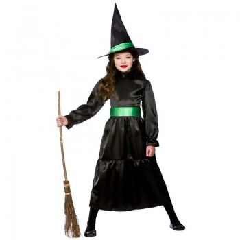 Girls Wicked Witch Halloween Outfit - (Black, Green)