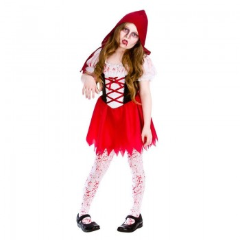 Girls Lil Zombie Riding Hood Halloween Fancy Dress Costume