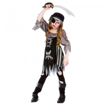 Girls Zombie Ghost Pirate Halloween Fancy Dress Costume