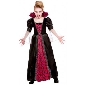 Girls Black/Red Victorian Vampires Halloween Fancy Dress Costume