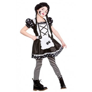 Girls Black/White Broken Doll Halloween Fancy Dress Costume