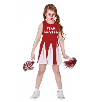 Girls Red/Wite Fear Leader Haloween Fancy Dress Costume