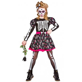 Girls Skull Of The Dead Halloween Fancy Dress Costume