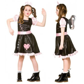 Girls Wind Up Doll Halloween Fancy Dress Costume
