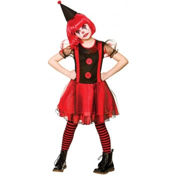 Girls Freaky Clown Halloween Fancy Dress Costume