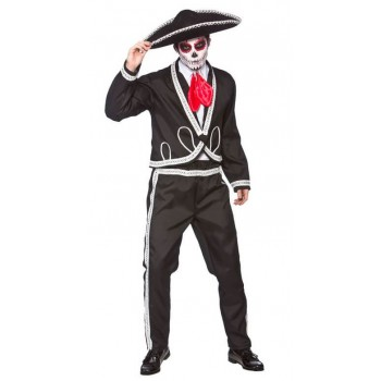 Mens Deluxe Mariachi Day Of The Dead(Inc Sombrero)Halloween Fancy Dress Costume