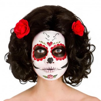 Ladies Day Of The Dead Senorita Wig Halloween Fancy Dress Accessory