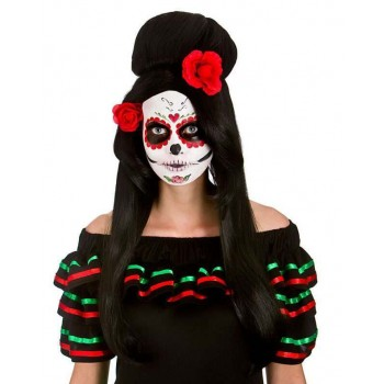 Ladies Day Of The Dead Darling Wig Halloween Fancy Dress Accessory
