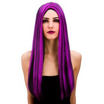 Ladies Bewitched Witch Black/Purple Wig Halloween Fancy Dress Accessory