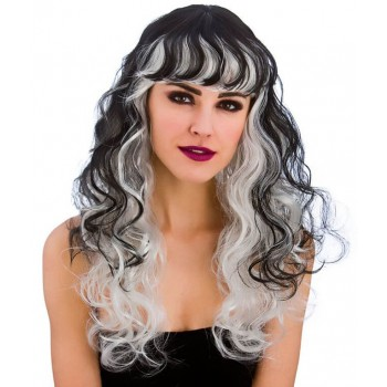 Ladies Black/Silver Spellbound Wig (Curly) Halloween Fancy Dress Accessory